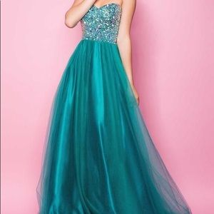 Green a line gown